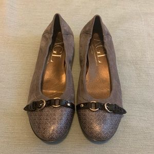 AGL Ballet Flat Silver and Gray Suede 8.5